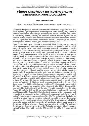 VÝHODY A NEVÝHODY ZBYTKOVÉHO CHLORU Z HLEDISKA MIKROBIOLOGICKÉHO