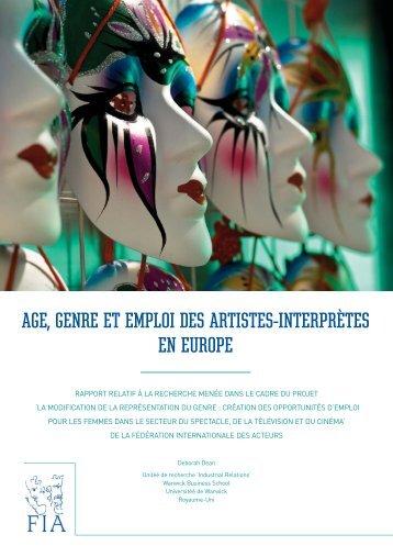 AGE GENRE ET EMPLOI DES ARTISTES-INTERPRÈTES EN EUROPE