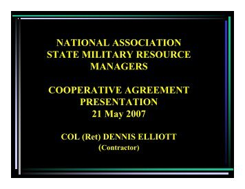 Cooperative Agreement - COL (RET) - Nasmrm.org