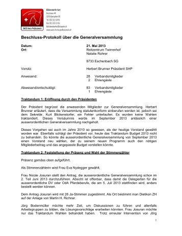 Beschluss-Protokoll über die Generalversammlung