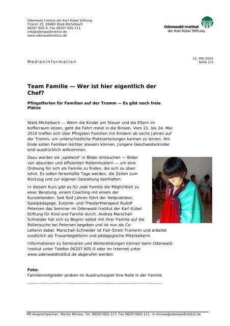 Team Familie — Wer ist hier eigentlich der Chef? - Odenwald-Institut
