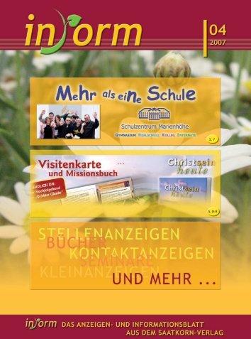 Visitenkarte ENDLICH DA: der Nachfolgeband von ... - INFORM