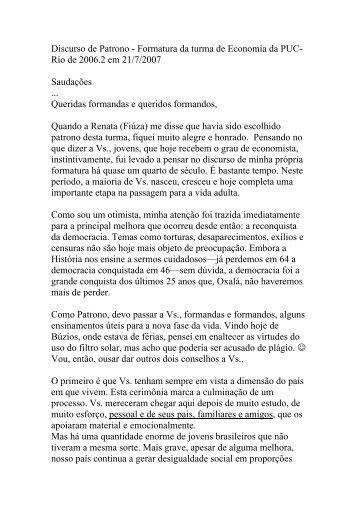 Discurso de Patrono - Formatura da turma de Economia ... - PUC-Rio