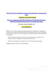 BCOM 275 Week 2 Individual Assignment Demonstrative Communication Paper