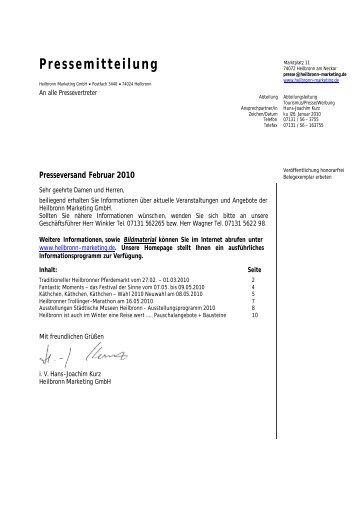 Pressemitteilung - Heilbronn Marketing GmbH