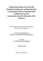 Vergleichende Analyse der Curricula der Osteopathie Ausbildungen ...