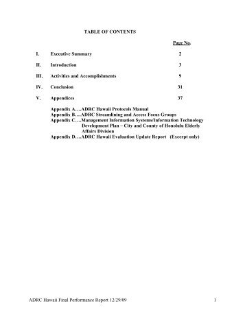 TABLE OF CONTENTS Page No. I. Executive Summary 2 II ...