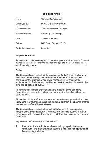 Accountant Job Description. Job Description Post: Community ...