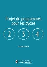 Projet de programmes pour les cycles