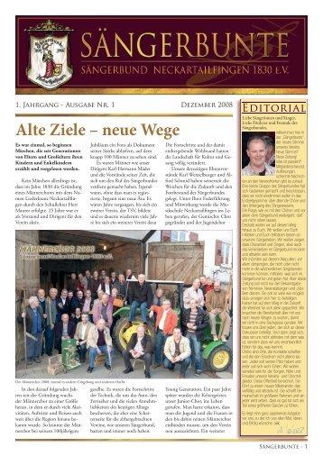Alte Ziele – neue Wege - Sängerbund Neckartailfingen
