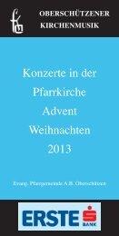Konzerte in der Pfarrkirche Advent Weihnachten 2013