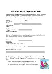 Anmeldeformular Segelfreizeit 2012 - Segler - Club Hansa