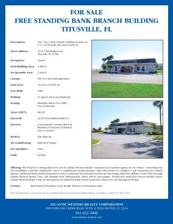FOR SALE FREE STANDING BANK BRANCH BUILDING TITUSVILLE FL