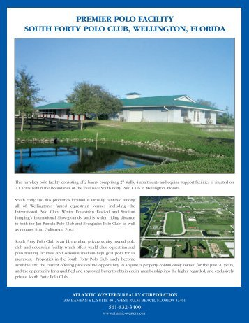 PREMIER POLO FACILITY SOUTH FORTY POLO CLUB WELLINGTON FLORIDA