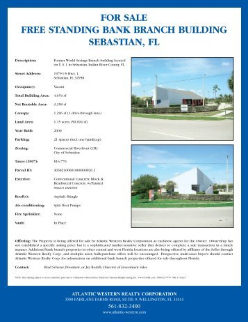 FOR SALE FREE STANDING BANK BRANCH BUILDING SEBASTIAN FL