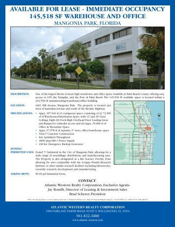 AVAILABLE FOR LEASE - IMMEDIATE OCCUPANCY 145,518 SF WAREHOUSE AND OFFICE