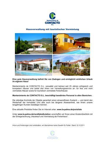 Hausverwaltung mit touristischer Vermietung - La Palma