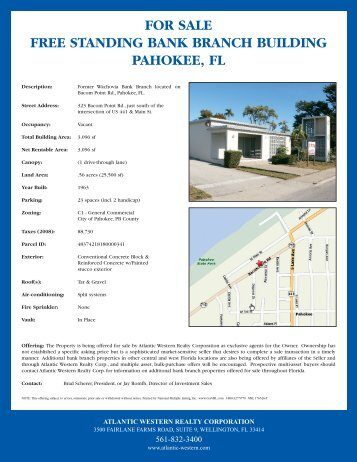FOR SALE FREE STANDING BANK BRANCH BUILDING PAHOKEE FL