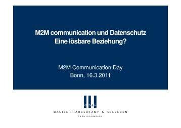 M2M communication und Datenschutz Eine lösbare Beziehung?
