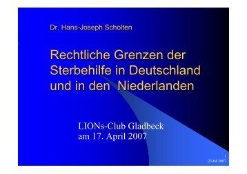 Rechtliche Grenzen der Sterbehilfe in Deutschland und in den Niederlanden