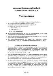 Juniorenfördergemeinschaft Franken-Jura Fußball e.V Vereinssatzung