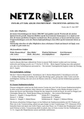 INFO-BLATT DJK ADLER 1910 FRINTROP – TISCHTENNIS-ABTEILUNG