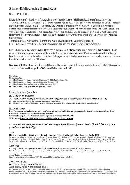 Stirner Bibliographie Bernd Kast