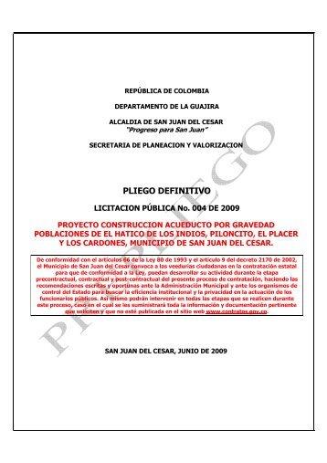 PLIEGO DEFINITIVO ACUEDUCTO- EL HATICO - Portal Único de ...