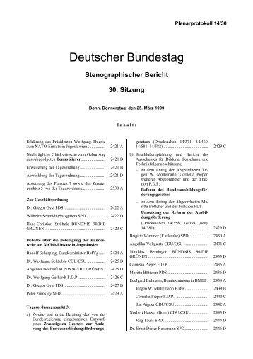 Stenographischer Bericht 30. Sitzung - Deutscher Bundestag