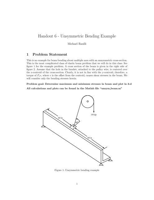 Handout 6 - Unsymmetric Bending Example