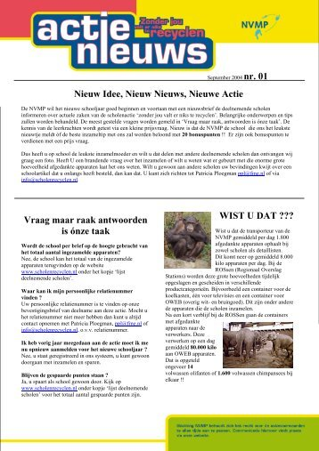 Actienieuws nr. 01 - Wecycle.nl - Scholen