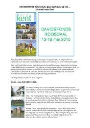 DAVIDSFONDS ROOSDAAL gaat opnieuw op reis .. ditmaal naar Kent