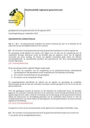 Huishoudelijk reglement gemeenteraad