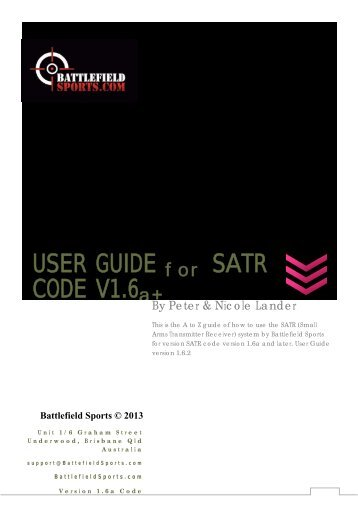 USER GUIDE CODE V1.6 SATR