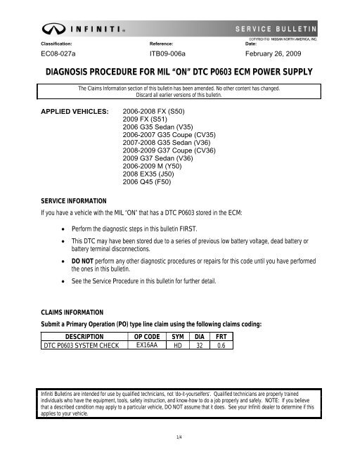 "DIAGNOSIS PROCEDURE FOR MIL ""ON"" DTC P0603 ECM POWER SUPPLY"