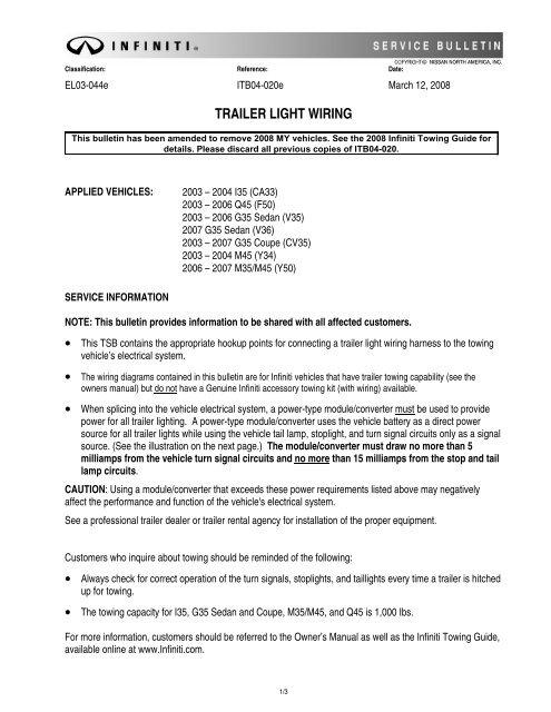 TRAILER LIGHT WIRING on