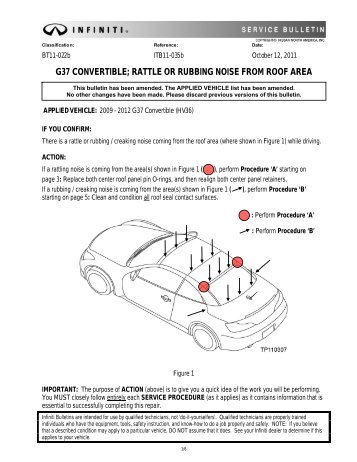 G37 Convertible Rattle Or Rubbing Noise From Roof Area
