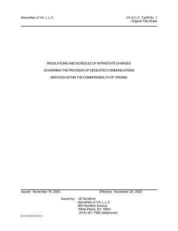 AboveNet of VA, LLC VA SCC Tariff No. 1 Original Title Sheet Issued