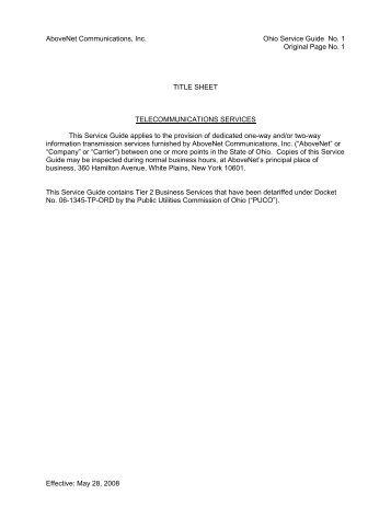 AboveNet Communications, Inc. Ohio Service Guide No. 1 Original ...