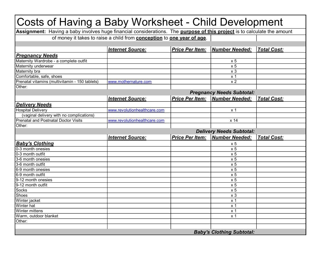 worksheet Baby Cost Worksheet 3 free magazines from cortlandschools org org