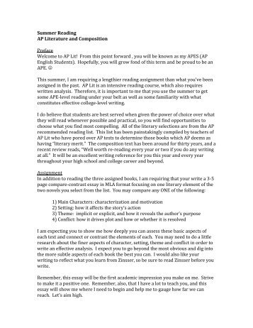 Example Of A Thesis Essay Summer Reading Ap Literature And Composition Preface Welcome  Student Life Essay In English also Persuasive Essays For High School Smith  Ap British Literature And Composition Summer Reading  Proposal Essay Ideas