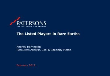 The Listed Players in Rare Earths - Hastings Rare Metals Limited