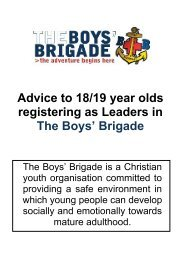 Advice to 18/19 year olds registering as Leaders in The Boys' Brigade