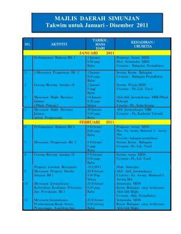 MAJLIS DAERAH SIMUNJAN Takwim untuk Januari - Disember 2011