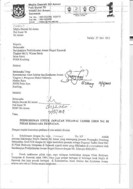 Contoh Surat Permohonan Melalui Ketua Jabatan 2 E Recruitment