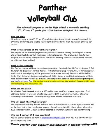 The volleyball program at Snider High School is ... - Snider Home