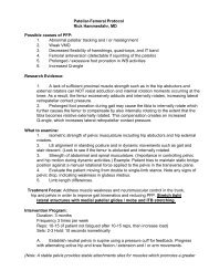 Patellar-Femoral Protocol Rick Hammesfahr, MD Possible causes of ...