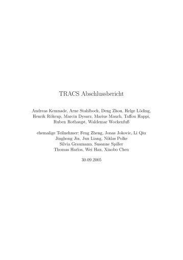 TRACS Abschlussbericht - Informatik - Universität Bremen