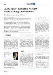 """""""KWG light"""": Zwei Jahre Aufsicht über Factoring-Unternehmen"""