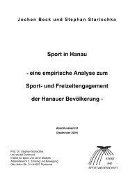 Sport in Hanau - eine empirische Analyse zum ... - Dr. Jochen Beck